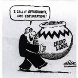 Stock holders are not likely to see their continual attempts to keep wages and benefits down as a matter of exploitation. That they would deliberately work to keep unemployment rates high just to create an employers market should really not be so hard to understand.